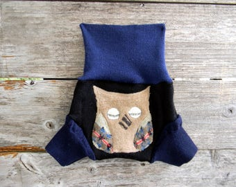 Upcycled Merino Wool Soaker Cover Diaper Cover With Added Doubler Black/ Blue With Owl Applique SMALL 3-6M Kidsgogreen