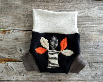 Upcycled Merino Wool Soaker Cover Diaper Cover With Added Doubler Black/ Brown/ Oatmeal With Tree  Applique MEDIUM 6-12M Kidsgogreen
