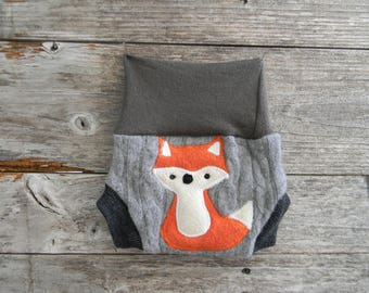 Upcycled Cashmere/Merino Wool Soaker Cover Diaper Cover With Added Doubler Brown/ Gray /Black With Fox Applique NEWBORN 0-3M Kidsgogreen