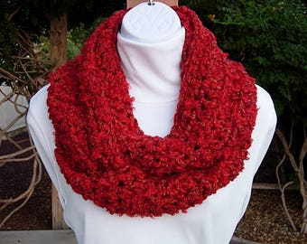 INFINITY SCARF Loop Cowl Vibrant Red with Gold, Soft Lightweight Thick Crochet Knit Winter Circle, Neck Warmer..Ready to Ship in 2 Days
