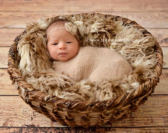 African Brown Beige Faux Flokati Fur Nest Photography Prop Rug Newborn Baby Toddler 30x27