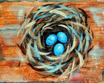 Bird Nest Painting, Being Alive Is The Magic, Spring Painting, Secret Garden, Mixed Media, Nature Art, Childrens Wall Art, Home Decor, 12x9