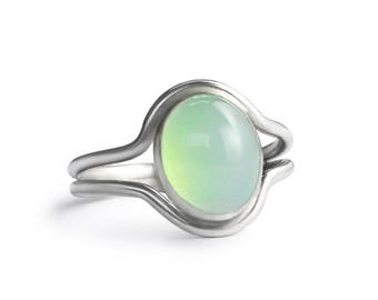 Double Band Sterling Silver Peruvian Chalcedony Ring