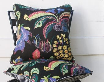 Schumacher Pillow Cover - Set of Two - Exotic Butterfly - Black - by Josef Frank - 16 inch - - Decorative Pillow Cover - ready to ship