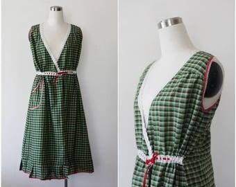 1960s Gingham Dress Wrap Dress Checkered Mod Dress Peasant Dress M Picnic Plaid Dress Apron Prairie Dress Jumper Dress Sleeveless Dress