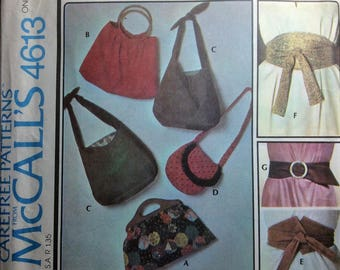 Vintage Sewing Pattern 1970's Fashion Accessories Bags Belts Shoulder Bags Purses Boho Disco 1975