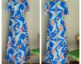 Vintage Hilo Hattie Maxi Hawaiian Dress, S/M