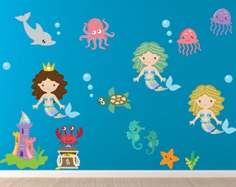 Mermaid Wall Decal, Nursery Wall Decal,  Reusable Non-toxic NO PVCs, WD78