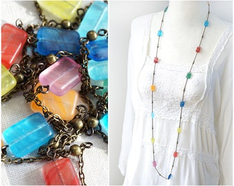 Long Rainbow Necklace Long Satellite Chain Beaded Czech Glass Rectangle Geometric Necklace Modern Colorful Necklace Clothing Gift
