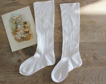 Antique White Cotton Hand Knit Socks Stockings