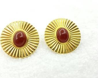 Avon Midnight Moon Carnelian  pierced  earrings Mint Condition  Delicate gold tone 1986