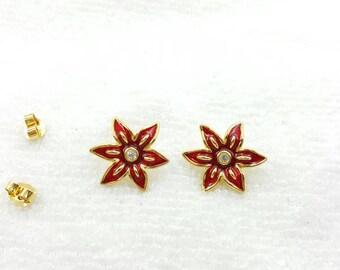 Avon Poinsettia Pierced  earrings Mint Condition  Enamel Flowers  Seasonal  1997 Original box