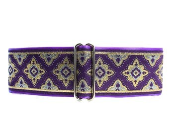 2 inch Martingale Collar, Purple Martingale Collar, Purple Jacquard, Greyhound Collar, Jacquard Dog Collar, Wide Dog Collar