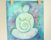 Pregnancy Goddess, pregnant mama, painting, artwork, sacred feminine, mandala, water colour painting