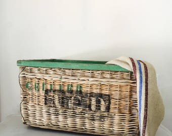 French Champagne Harvest Extra Large Basket, Wicker Basket, Wicker Harvest Basket, Vintage French Wicker Harvest Basket,  French Basket