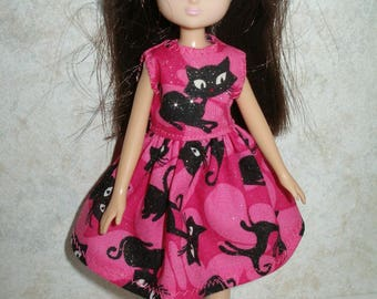 """Handmade 7"""" doll clothes for Lottie - Pink and Black Cat Dress"""