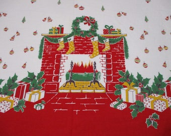 Vintage Feedsack Border Print Fabric-Christmas Fireplace-BTY-1 Yard-more available