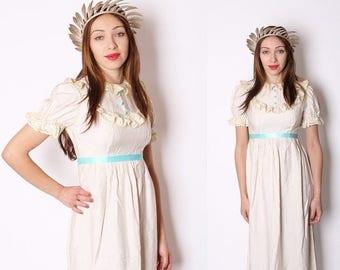 On SALE 40% Off - Edwardian Wedding Dress / Wedding Dress / Dress / Dresses / Vintage Dress / Long Dress / Blue / Boho / Bohemian / 1940s /