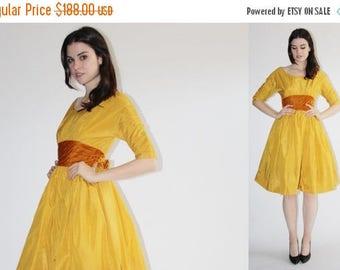 On SALE 40% Off - D - Harry Kesier Dress -  50s Mustard Party Dress - The  Dijon Dress - 8047