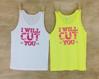 I Will Cut You Unisex Humorous Cosmetology Beach Tank - GC
