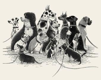 Dogs Waiting  silkscreen