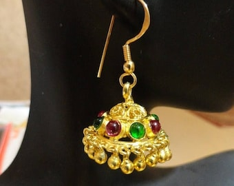 ON SALE Jaipur Jhumkas - Gold Vemeil Jhumkas wiht Red and Green Crystals -J88