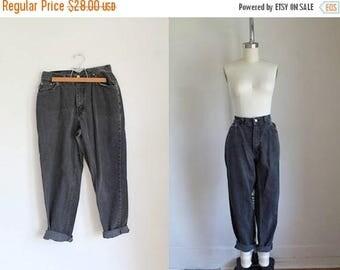 "20% off SALE vintage 1980s jeans - CHIC faded black high waist denim pants / 30"""