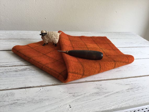 Hand Dyed and Felted Wool Fabric, PRIMITIVE PUMPKIN PLAID, Rug Hooking, Applique, Penny Rugs, Textile ans Fiber Arts