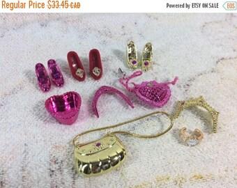 20% SALE 90s Barbie Accessories Fancy Formal Wear Dress Up Gold Pink Red Flocked Shoes 90s Girls Dolls