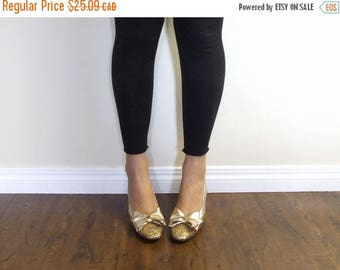CLEARANCE Gold Sparkly Heels Shoes Pumps - Fantiques Ladies size 6 Retro 80s Shoes Ladies Women