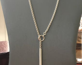 THE FINEST SILVER-on the market 935 Argentium Lariat- drop tube pendant with a 4mm Argentium wheat chain - Edgy- Minimalist High-end Jewlery