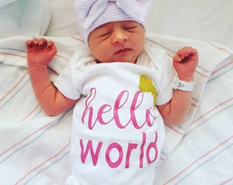 HELLO WORLD baby newborn outfit gift baby shower gift new baby bodysuit baby shower gift birthday outfit reveal hospital outfit going home
