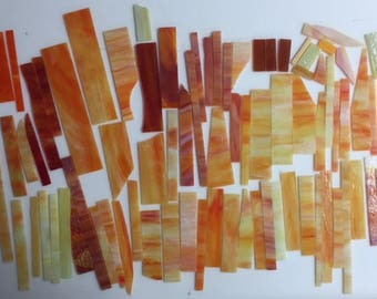 3 pounds various yellow-orange-red scrap glass for stained glass or mosaic