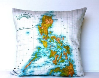 SALE SALE SALE eco friendly cushion cover The Philippines map cushion, organic cotton pillow, 16 inch, 41cm 16x16 inch pillow