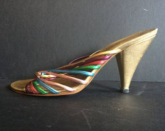 Rainbow Disco Heels Size 5
