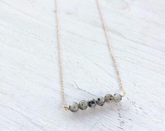 Gray Jasper Bar Necklace