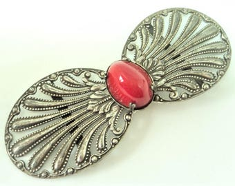 c.1930s Red Glass Buckle... Dark Silver... Rococco Shell
