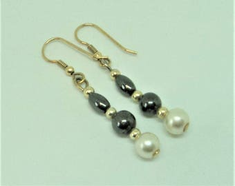 Real Hematite & Pearl Earrings... c.1980s... Pierced Drops