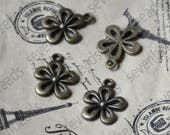 20 pcs Antique bronze Flower Charms Connector pendant, charm Metal flower Earring Components ,earring Pendant charm,jewelry pendant finding