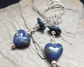 Quirky Heart Lampwork and Sterling Silver Earrings - Steel Blue