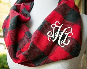 Buffalo Plaid Scarf - Monogram Buffalo Check infinity Scarf - Ladies Buffalo plaid scarf