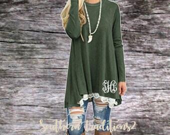 Monogram Pullover Tunic - Ladies Monogrammed Pullover - Women's Green Lace Sweatshirt