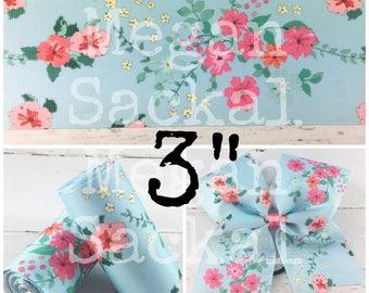 "3yd- 3"" Ribbon, Floral Print Ribbon, Cheer Bow Ribbon, Light Blue Floral"