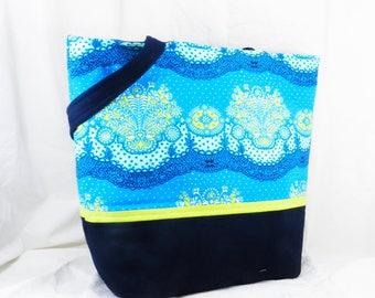 Amy Butler, Large Shoulder Bag, Large Blue Tote, Blue and Green, Lark Fabric, Nanna Chic, Large Tote Bag, Large Work Bag