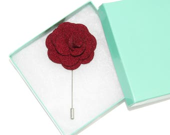 Men's Dark Red Floral Microfiber Lapel Stick Pin and Gift Box