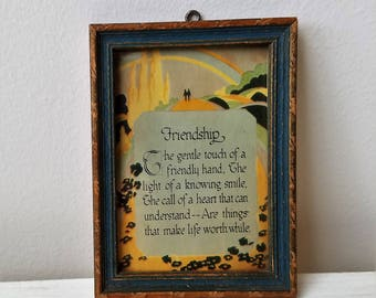 Vintage Friendship Art Deco Motto Poem Small Art Print in 1920's Carved Wood Frame, Rainbow Yellow Road, Friend Appreciation Gift