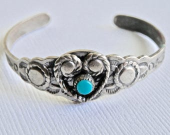 Navajo Baby Bracelet BELL TRADING Cuff Bracelet Nickel Silver Turquoise Old Pawn Handmade Southwestern Native American Vintage Baby Jewelry