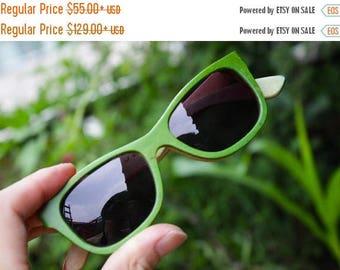 20% off SUMMER SALE 20 Percent OFF Sale - large size  apple green Walker2012 skateboard wood Takemoto handmade sunglasses