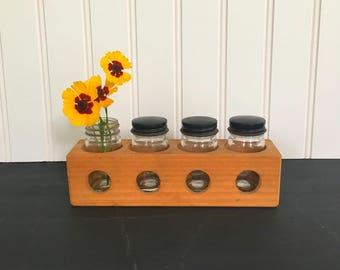 Porthole Wooden Storage Bin with 4 Lidded Glass Bottles Flower Vase or Supplies