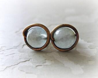 Brass Post Earrings, Aquamarine Studs, Stone Stud Earrings, Patina Stud Earrings, Raw Brass Posts, Oxidized Stud Earrings, Stone Posts